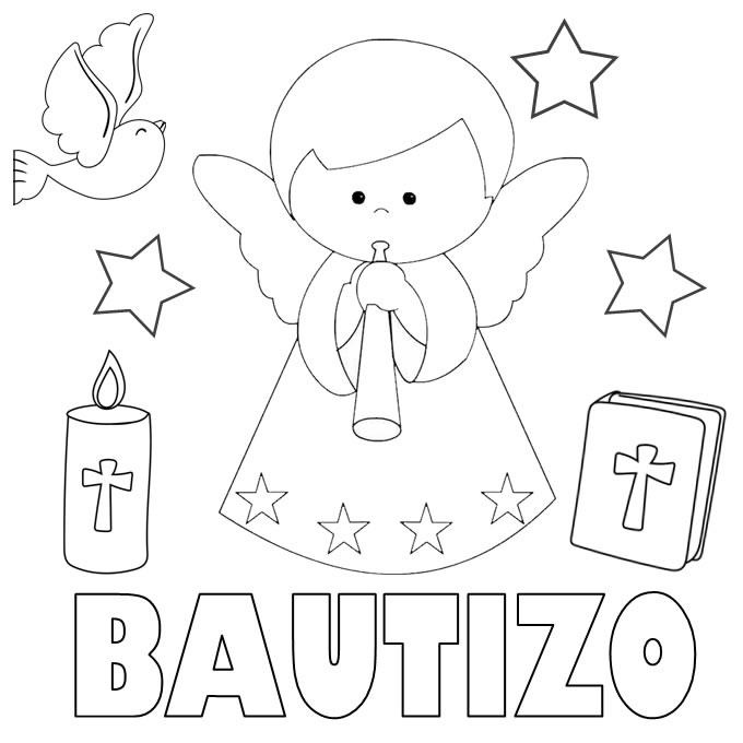 dibujos para colorear bautizo