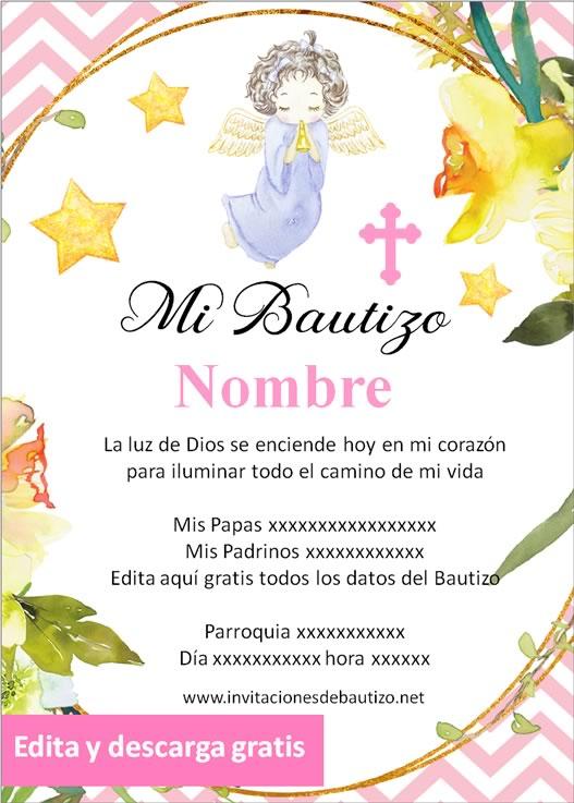 invitacion bautizo Niña