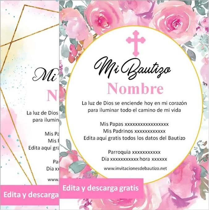 Invitaciones de Bautizo nena